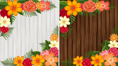 Colorful flowers on wooden background in white and brown illustration