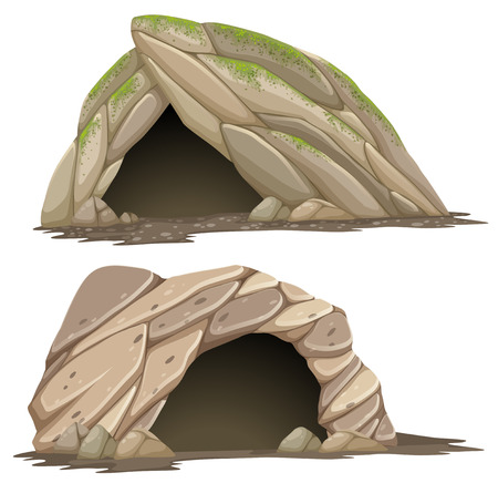 Two different caves on white background illustration Illustration