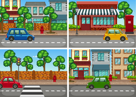 City scenes with car on the road illustration