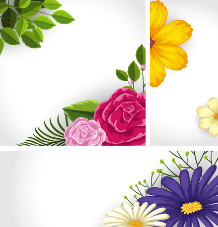 Three background template with colorful flowers illustration Illustration