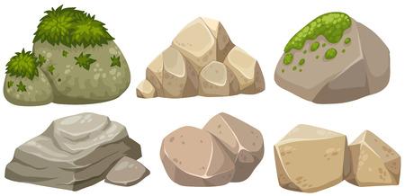 Verschiedene Formen des Steins mit Moosillustration