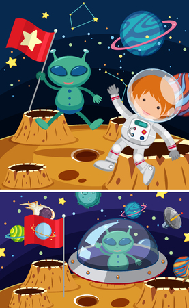 Two space scenes with aliens and astronaut illustration.