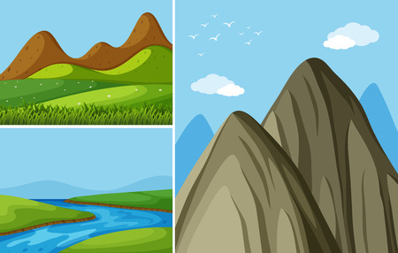 Three mountain scenes with river and field illustration.