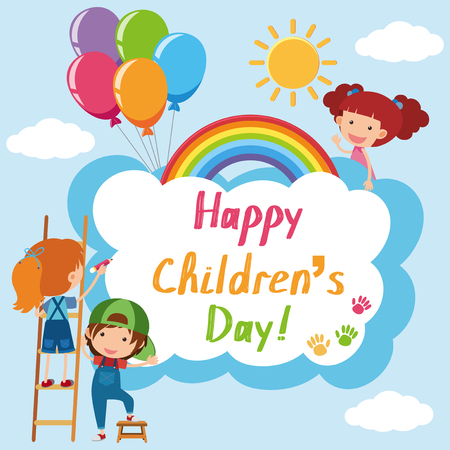 Happy Children's day poster with kids in sky illustration. Иллюстрация