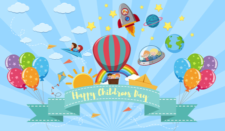 Happy Childrens day poster with kids and toys illustration Иллюстрация