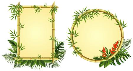 Twee grenssjablonen met bamboe en bloemenillustratie