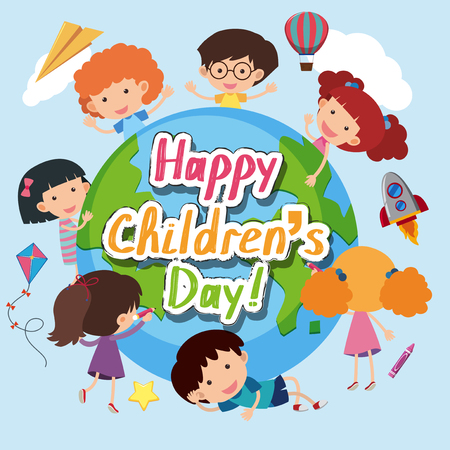 Happy Childrens day poster with happy kids around the world illustration