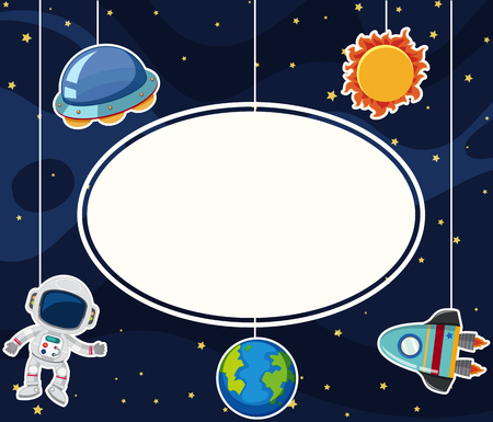 Border Template With Astronaut In Space Illustration Royalty Free ...