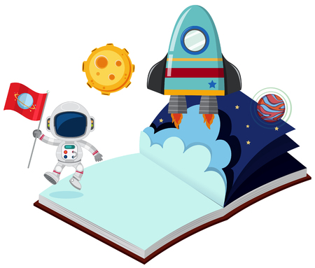 Astronaut and rocket in the book illustration Vectores