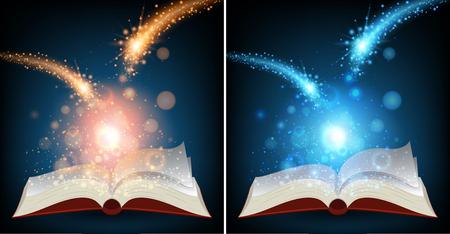 Two books with bright light illustration Illustration