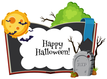 Happy halloween background with bats flying at night illustration Illustration