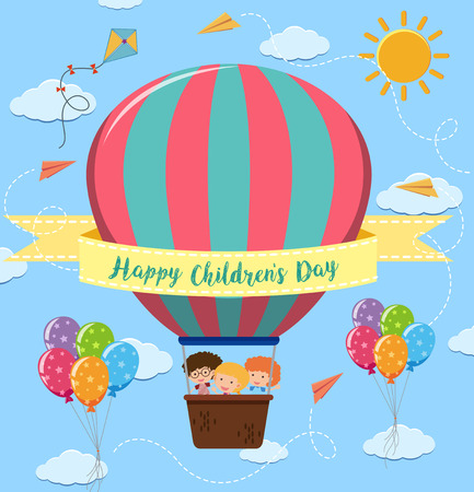 Happy children's day poster with kids riding balloon illustration Vectores