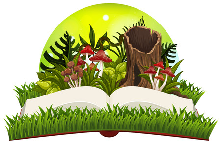 Book with mushrooms in the garden illustration