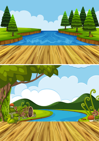 Two background scenes with river and trees illustration