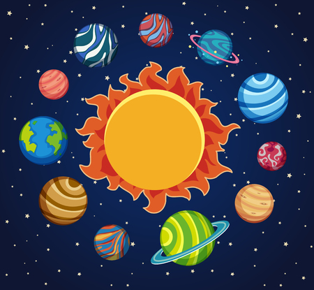 Solar system background with planets around the sun illustration