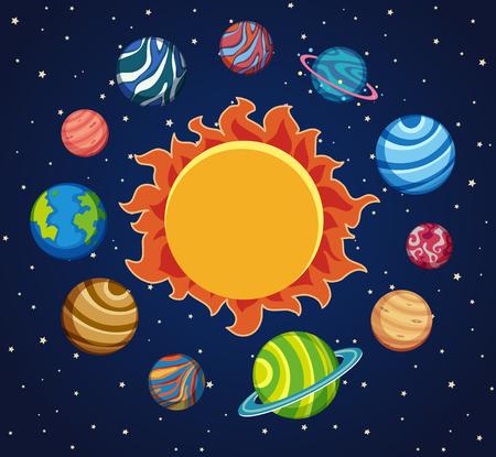 Fondo del sistema solare con i pianeti intorno all'illustrazione del sole