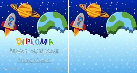 Diploma template with space in background illustration