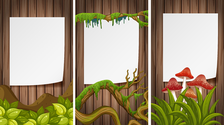 Three blank papers on wooden wall illustration.
