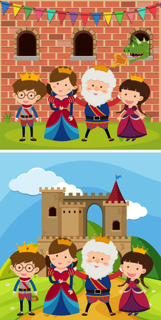 Two royal families at the castle illustration. Illustration