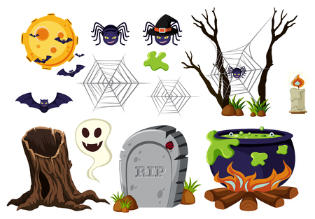 tree log: Halloween elements with spiders and bats illustration