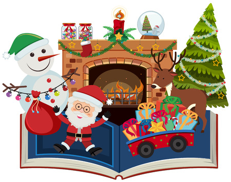 Book of christmas with santa and present illustration