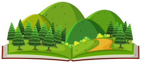Forest and mountain in the book illustration