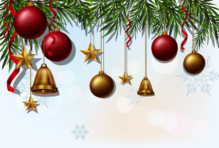 Bell Template For Christmas Decoration Alluring Background Template With Christmas Balls And Bells Illustration Review