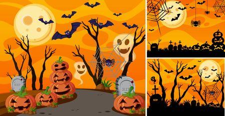 Three background with halloween night and jack-o-lanterns illustration Illustration