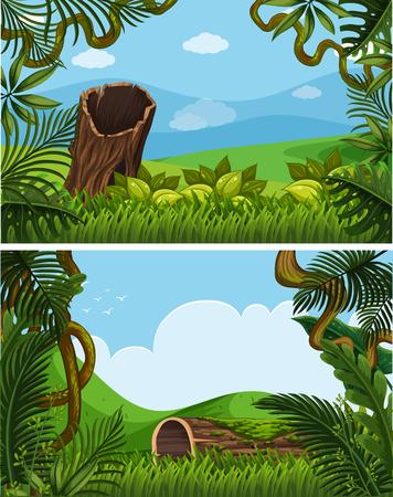 언덕 그림에 식물과 두 배경 장면 일러스트