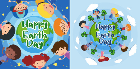 Happy Earth day with happy kids on earth illustration