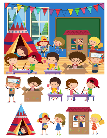 Kids playing and learning in classroom illustration