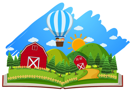 Farm scene with barns and balloon in the book illustration Illustration