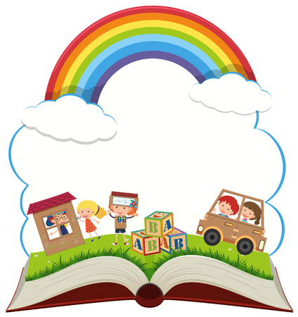 Book with kids in the park illustration 일러스트