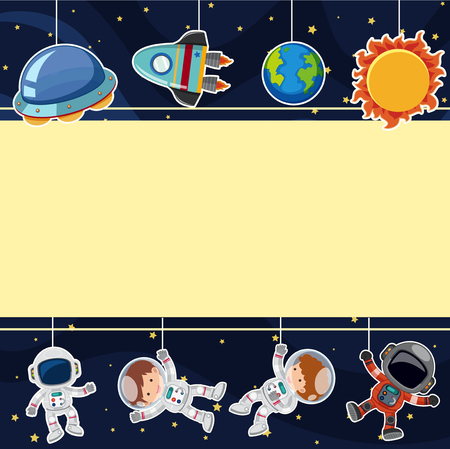 Border template with astronauts in space illustration.