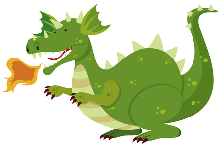Green dragon blowing fire illustration. Illustration