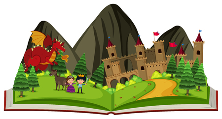 Storybook with dragon at the castle illustration. Illustration