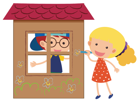 Two kids playing in the playhouse illustration.
