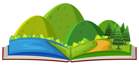 Mountain scene and river in the book illustration.