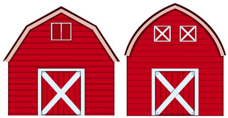 빨간색 색상 그림에서 헛간의 두 가지 디자인입니다. 일러스트