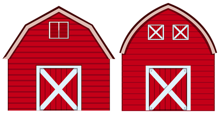 Two designs of barn in red colors illustration.