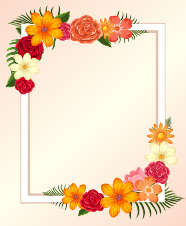 Frame template with colorful flowers and leaves illustration.