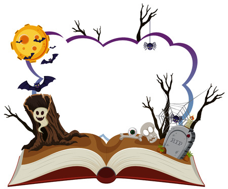 Border template with halloween night illustration.