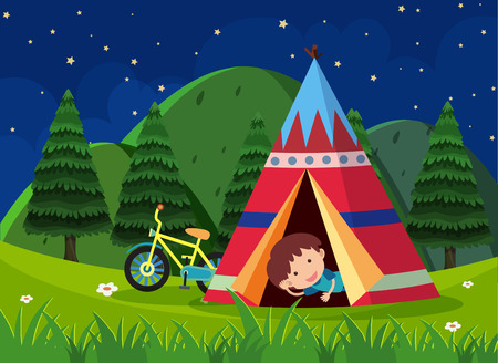 Boy camping out in the park illustration. Illustration