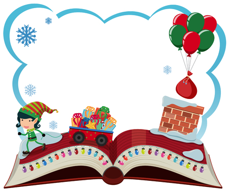 Border template with Christmas elf and presents illustration. Vectores