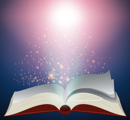 밝은 빛 일러스트와 함께 빈 책입니다.