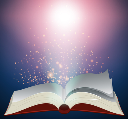 Blank book with bright light illustration.