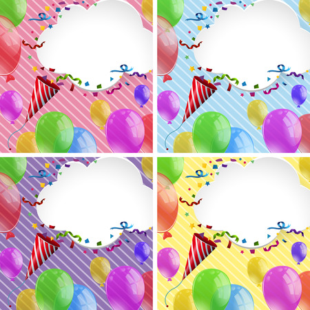 Party ribbons and balloons illustration. Illustration