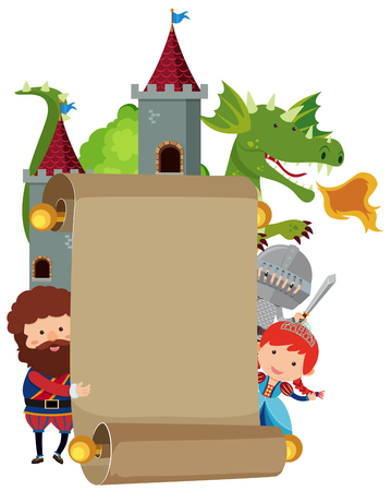 Banner template with fairytale characters illustration.