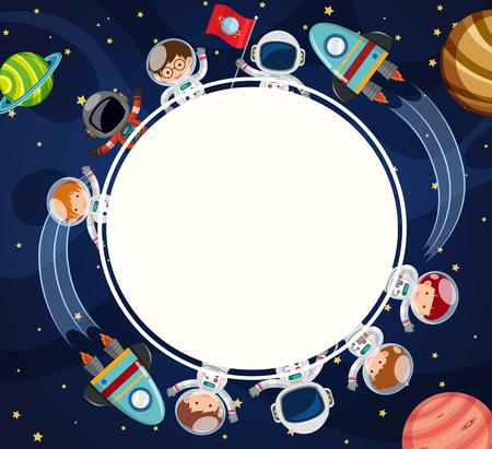 공간 그림에서 우주 비행사와 테두리 템플릿입니다.