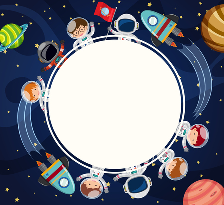 Border template with astronauts in space illustration. Stok Fotoğraf - 88901668